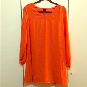 Orange dress with cut off sleeves